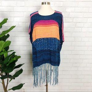 Free People Sunset Fringe Sweater Poncho Sz XS